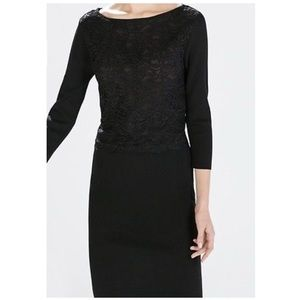 ♥️Zara Knit Black Lace Dress size M